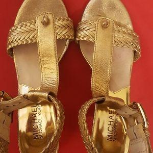 Michael Kors Size 6 Gold Sandal Heels